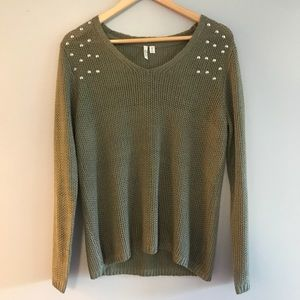 RD Style Olive Green Studded Sweater NWOT